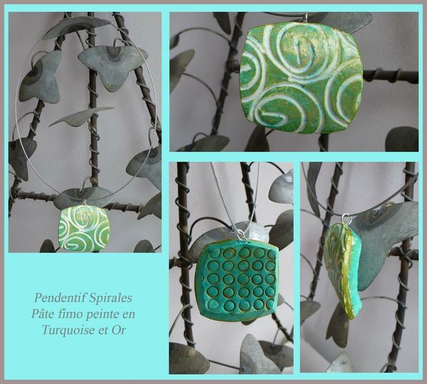 Pendentif Spirales-Turquoise&Or