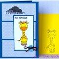 Un lift ... une girafe ... un bouton ... une carte de naissance pour garçon !!