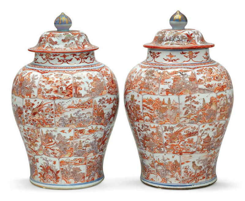 A very large pair of iron-red and underglaze blue jars and covers, Kangxi period, first quarter 18th century