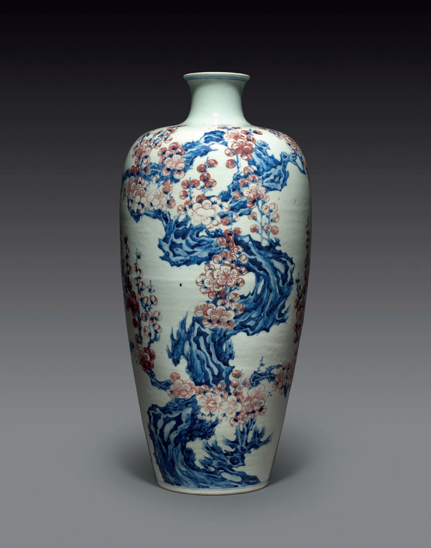 An underglaze blue and copper-red 'prunus' meiping, 18th century