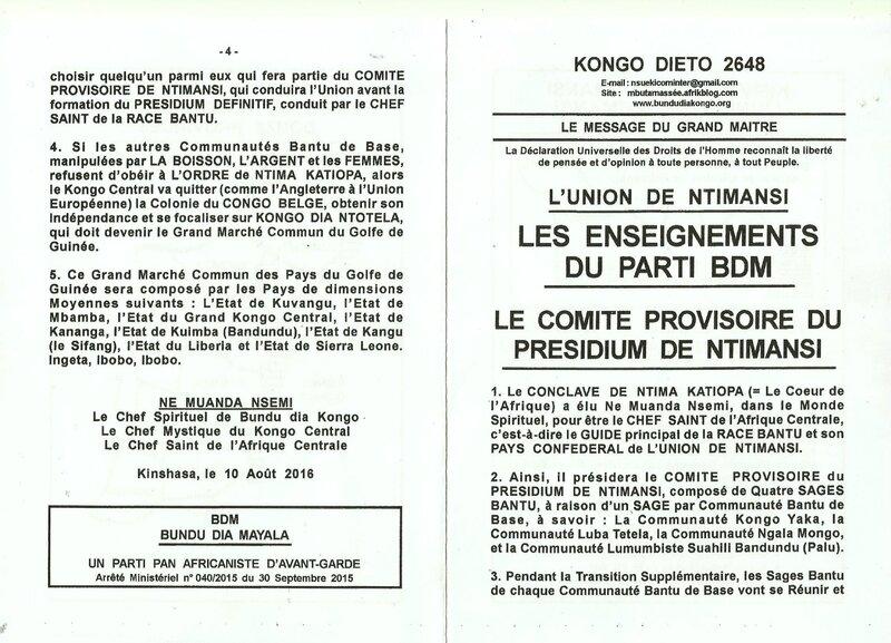 LE COMITE PROVISOIRE DU PRESIDIUM DE NTIMANSI a