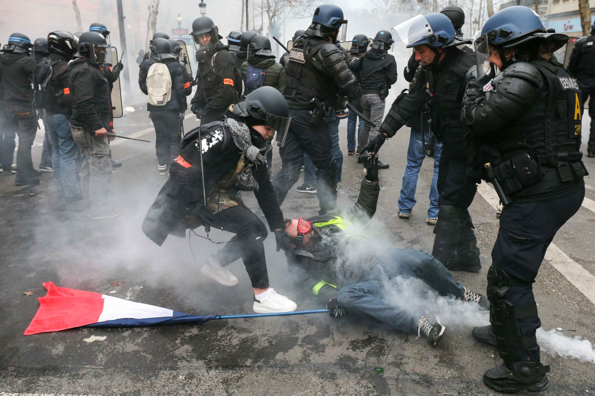Gilets jaunes Acte XII : des heurts à Paris. © Michel Stoupak. Sam 02.02.2019, 15h42m50.
