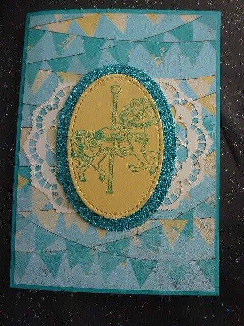 6 Carte Manège et Papier paillettes Kdo SAB