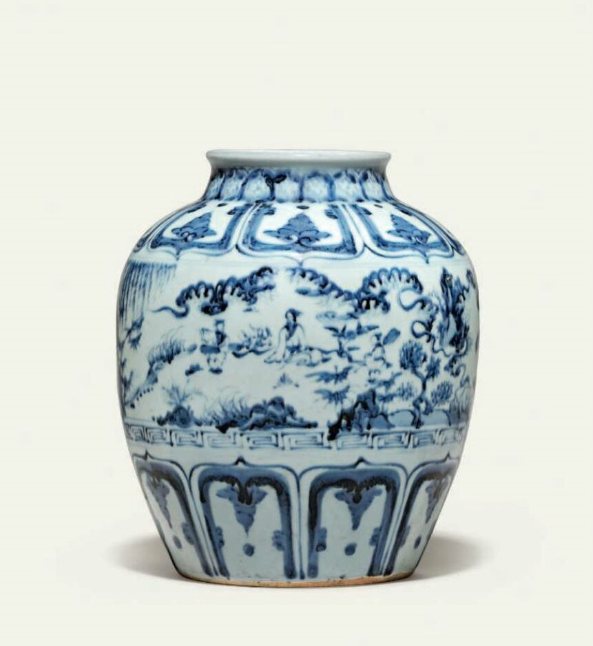 A blue and white 'windswept' jar, Ming dynasty, 16th century