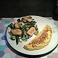Mon omelette sucrée salée parfumée : oignons frits, sauce aigre douce, citron et curry....