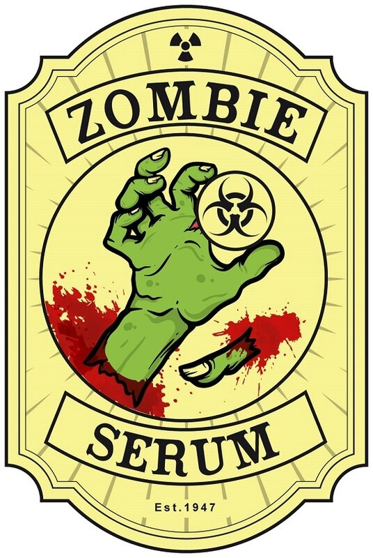 label halloween virus zombie infected serum