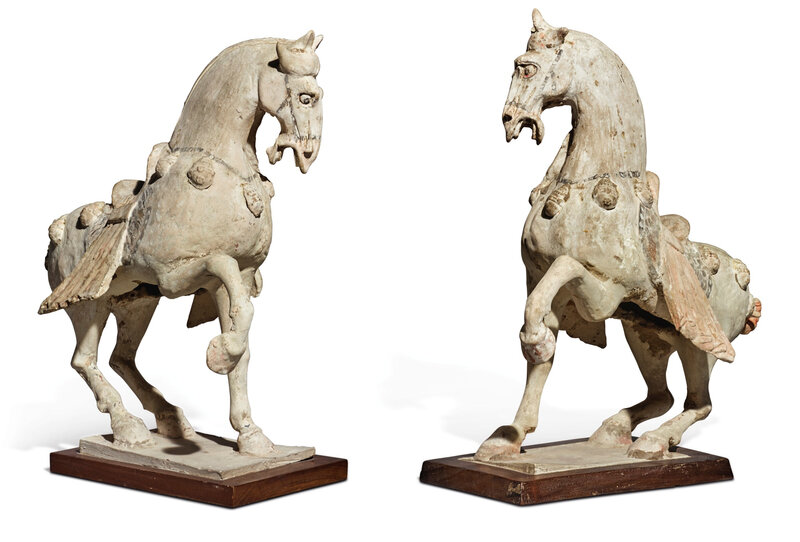 Pair of painted pottery horses, Tang dynasty (618-907)
