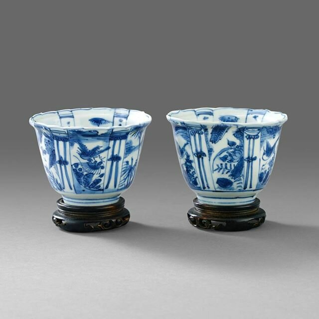 A Pair of Blue and White 'Kraak' Cups, Wanli period ( 1573-1619). Photo Stockholms Auktionsverk