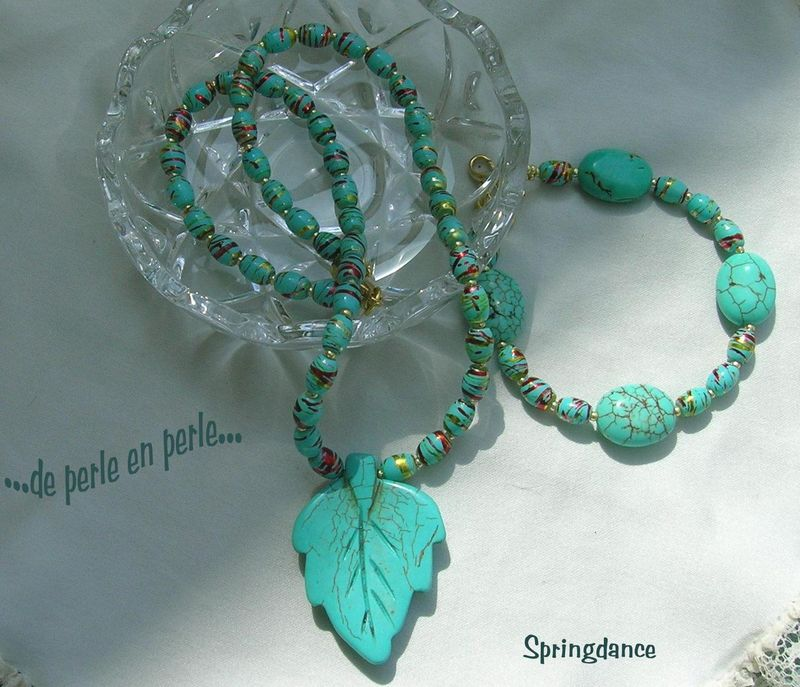 Parure Feuille turquoise 3