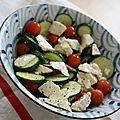 Pour en finir avec la courgophobie...salade croquante de jeunes courgettes, tomates cerises et feta