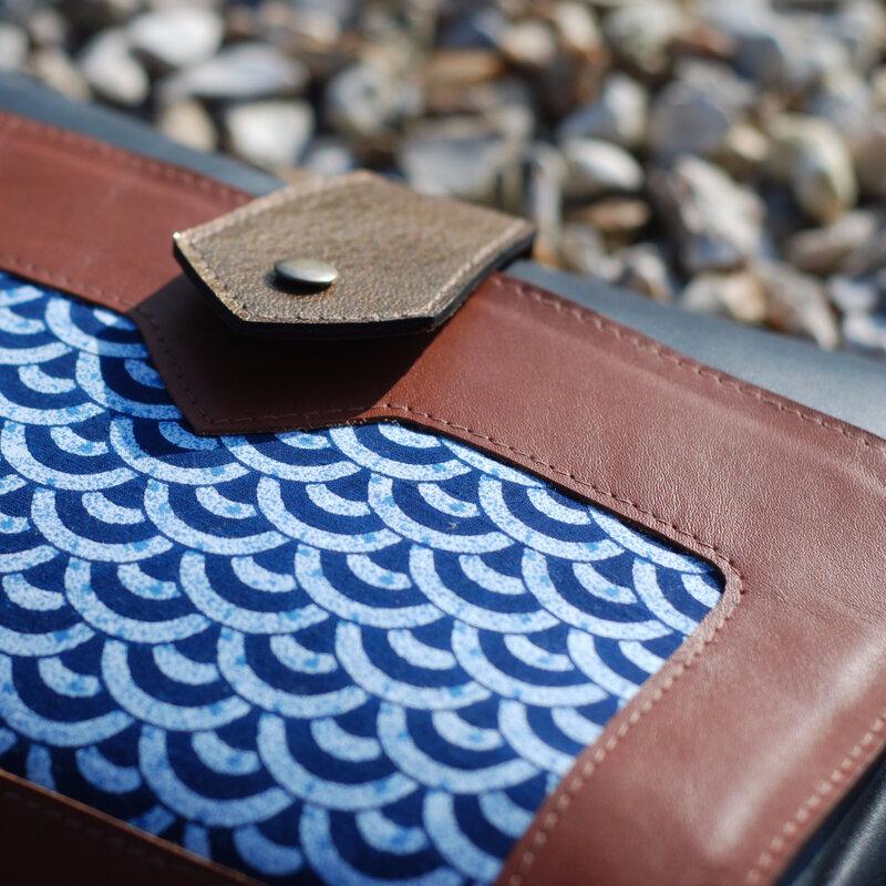 Sac de créateur en cuir et tissu made in france - Menthe Poivrée