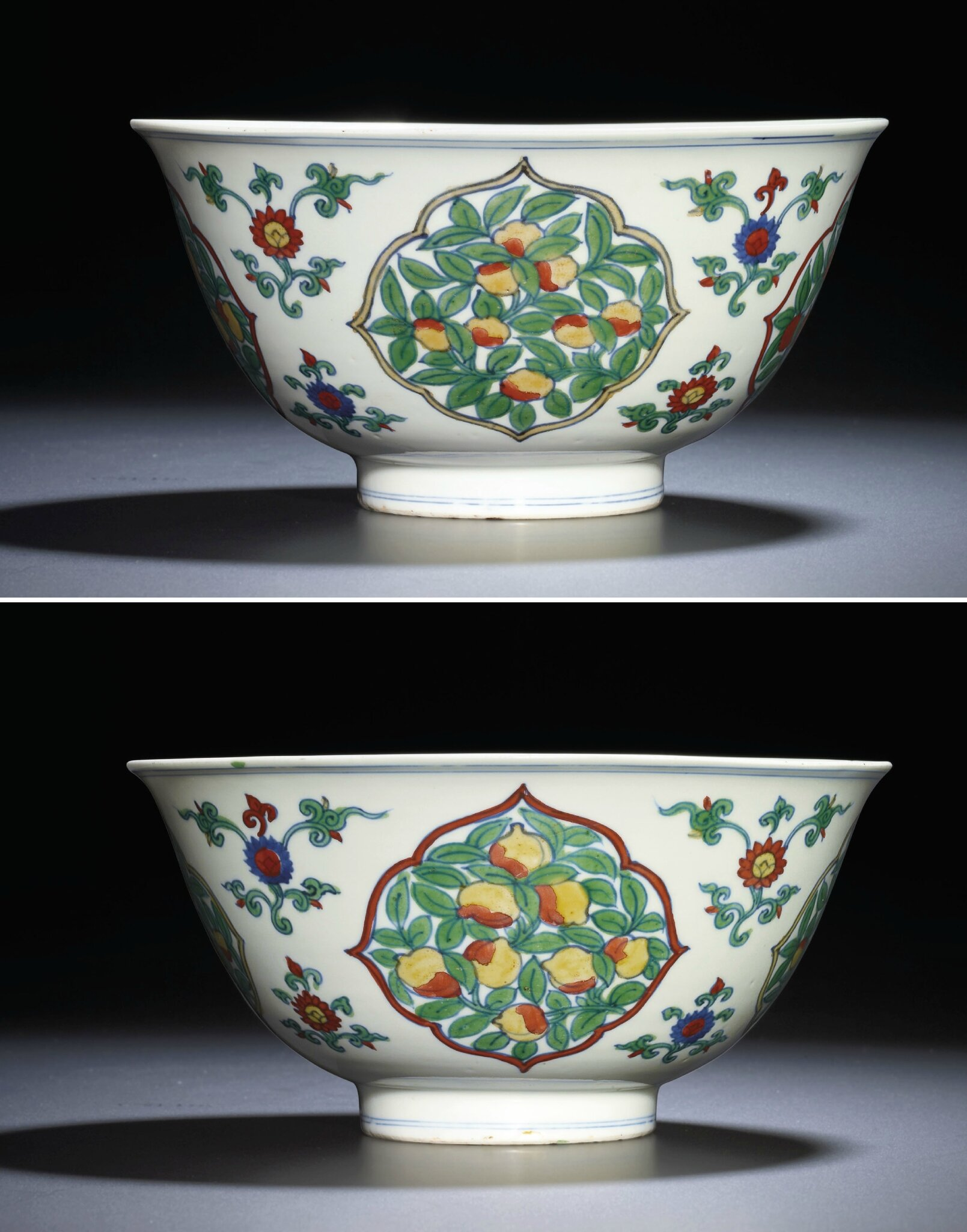 An important and very rare large doucai bowl, Wanli six-character mark within double circles and of the period (1573-1619)