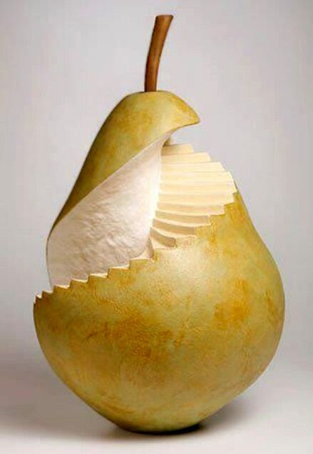 carving fruit pear stairs