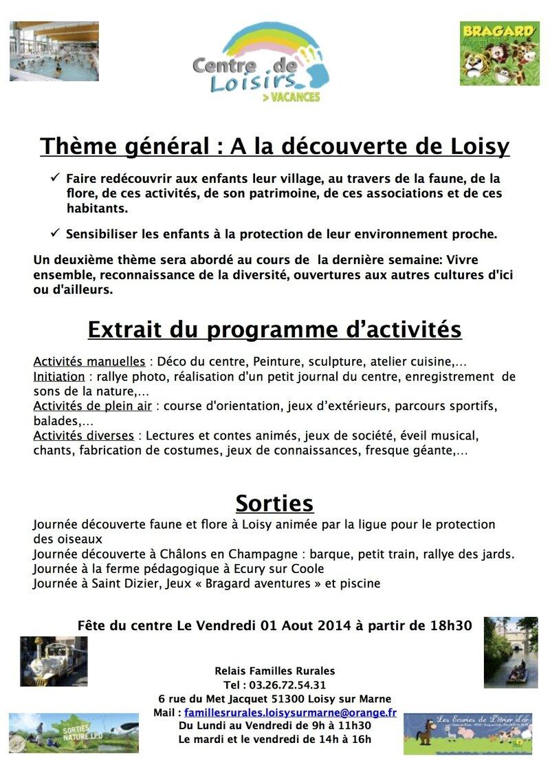 Infos Familles Centre de Loisirs Loisy 2014