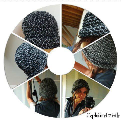 tricoter un bonnet à grosses mailles, bonnet chapeau d'hiver