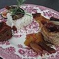 Crépinettes porc fermier figues fraîches tomates séchées et riz
