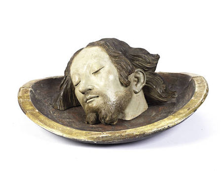 A_South_German_17th_century_polychrome_decorated_model_of_the_head_of_Saint_John_the_Baptist