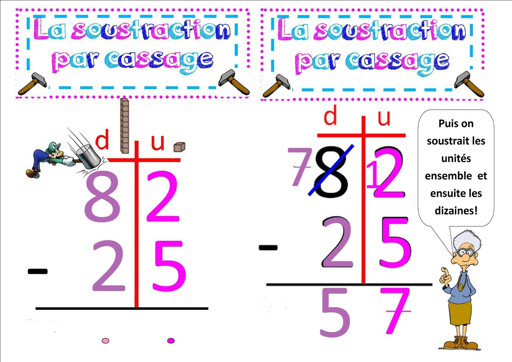 Maths 3 ce2 la soustraction pos e cass e la classe des ce de villebois - Soustraction avec retenue cm1 ...