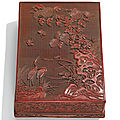 A cinnabar lacquer stationary box and cover, ming dynasty, 16th century