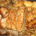 Rôti de porc confit à l'ail