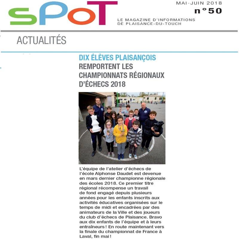 Presse Magazine Plaisance Du Touch SPOT ALAE Alphonse Daudet Mai Juin 2018