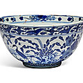 A blue and white 'deer and cranes' bowl, ming dynasty, 16th-17th century