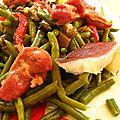 Salade de haricots verts aux magrets gésiers et légumes d'été