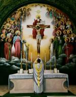 Les anges et tous les saints présents à la messe