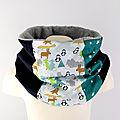 Echarpe tube enfant personnalisé tissus couleurs snood enfant pingouin vert bleu canard marine doublé polaire