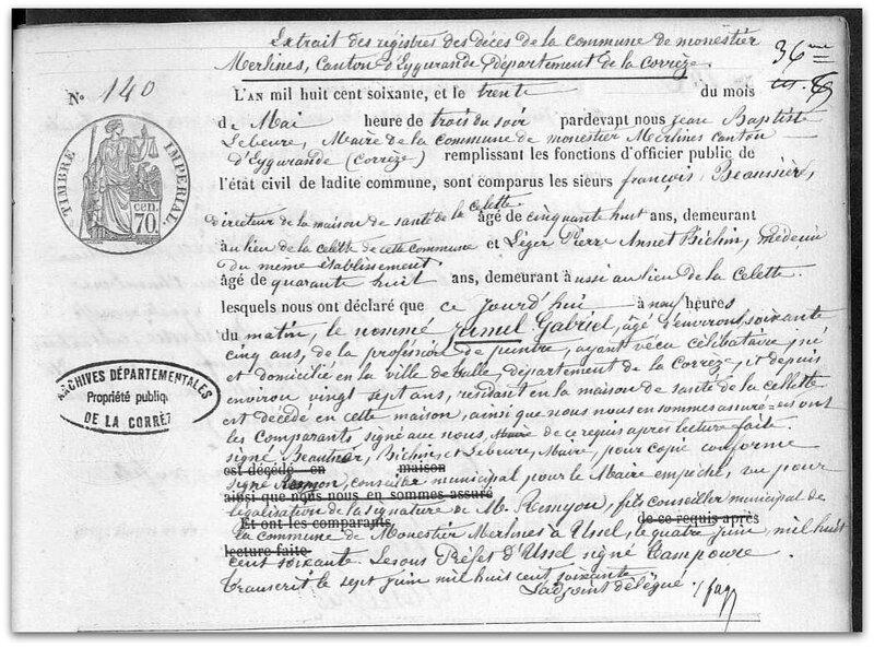 gabriel décès 1860 z