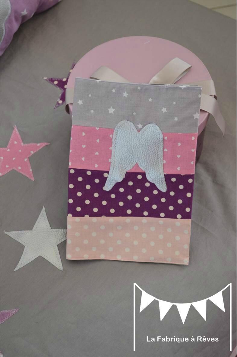 protège carnet santé thème ange étoiles parme mauve violet argent gris rose
