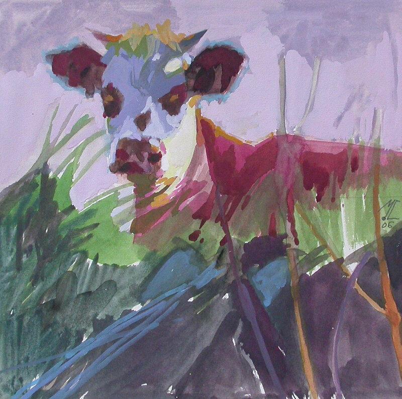 2006-Les Vaches-Joséphine-gouache-20x20cm
