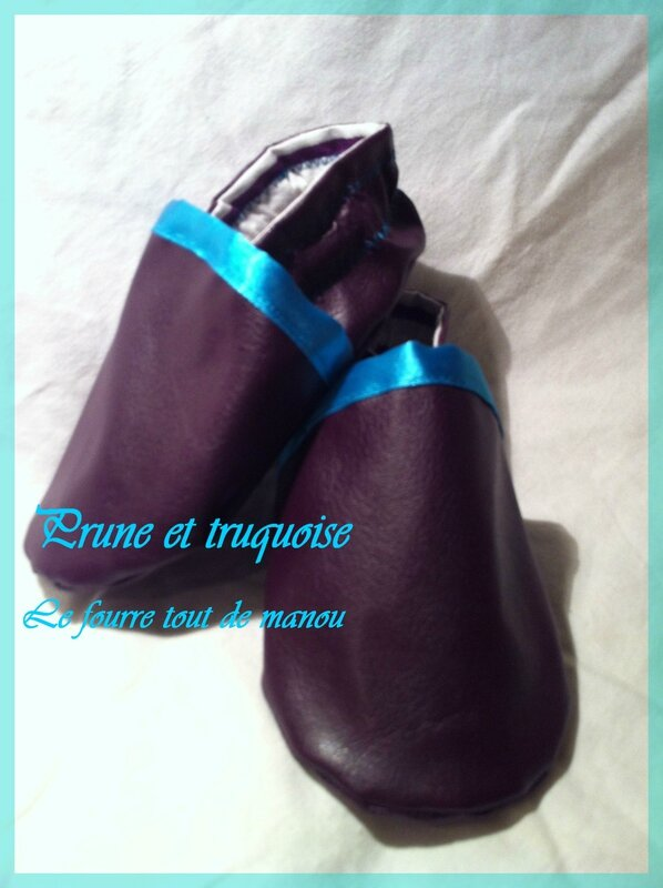 chausson prune et turquoise