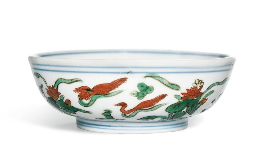 A small wucai 'Mandarin Ducks' bowl, Mark and period of Wanli (1573-1619)