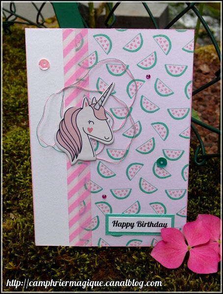 carte licorne rose
