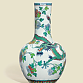 A large and impressive doucai 'Dragon and Phoenix' bottle vase, Qianlong period (1736-1795)