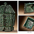An important and rare bronze wine vessel and cover, Fangyi, late Shang dynasty, Anyang, 12th-11th century BC