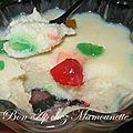 Semoule au lait cru et aux fruits confits et bonhomme de neige