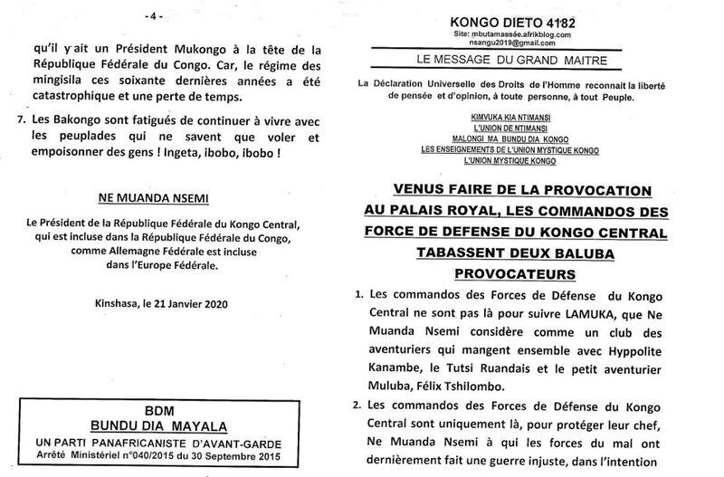 VENUS FAIRE DE LA PROVOCATION AU PALAIS ROYAL LES COMMANDOS DES FORCES DE DEFENSE DU KONGO CENTRAL TABASSENT DEUX BALUBA PROVOCATEURS a