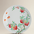 A fine and exceptional famille rose 'peach' dish, yongzheng six-character mark within double square and of the period (1723-1735