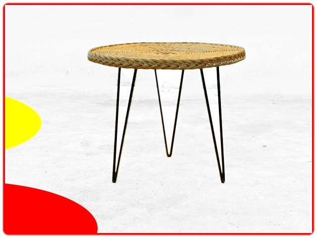 table rotin métal vintage 1960