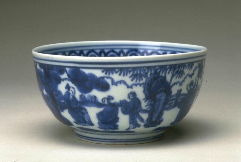 Bowl with a scene of elegant gathering, Ming dynasty, Jiajing six-character mark within double-circles and of the period (1522-1566)