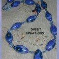 Collier fleurs bleues - 30