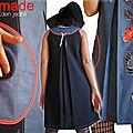 Robe trapèze Créateur graphique Noire/Chambray bleu style jeans et fleurs Rouge et blanc Printemps 2014