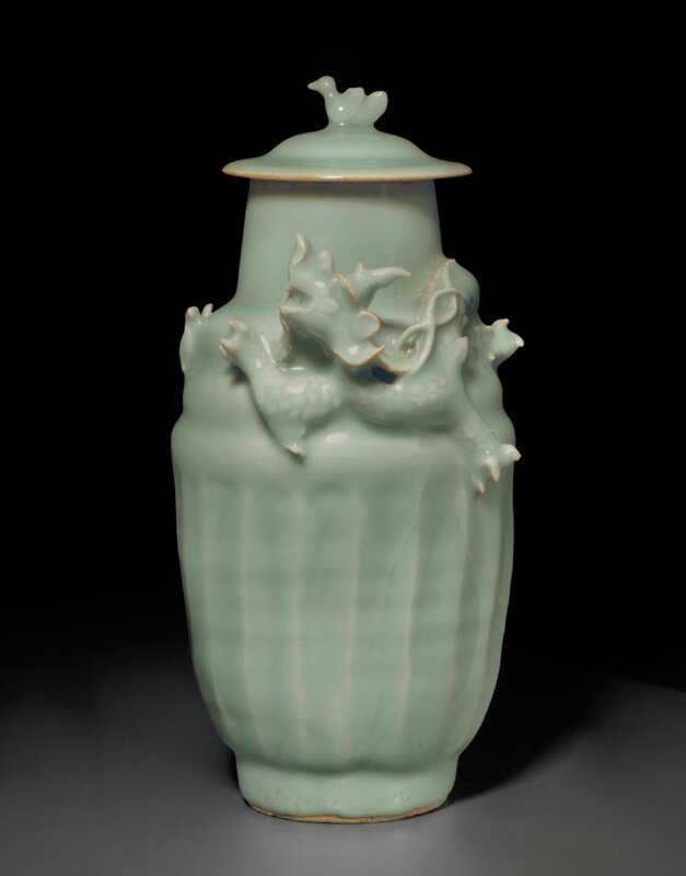 A Longquan celadon 'Dragon' jar and cover, Southern Song dynasty (1127-1279)