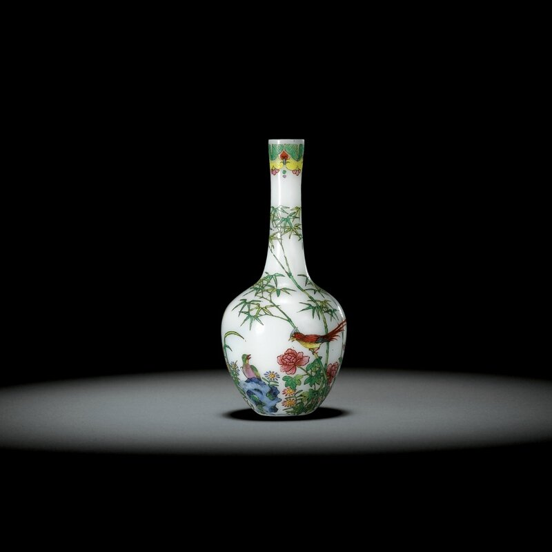 An extremely rare and exquisitely painted Beijing enamel glass vase, mark and period of Qianlong