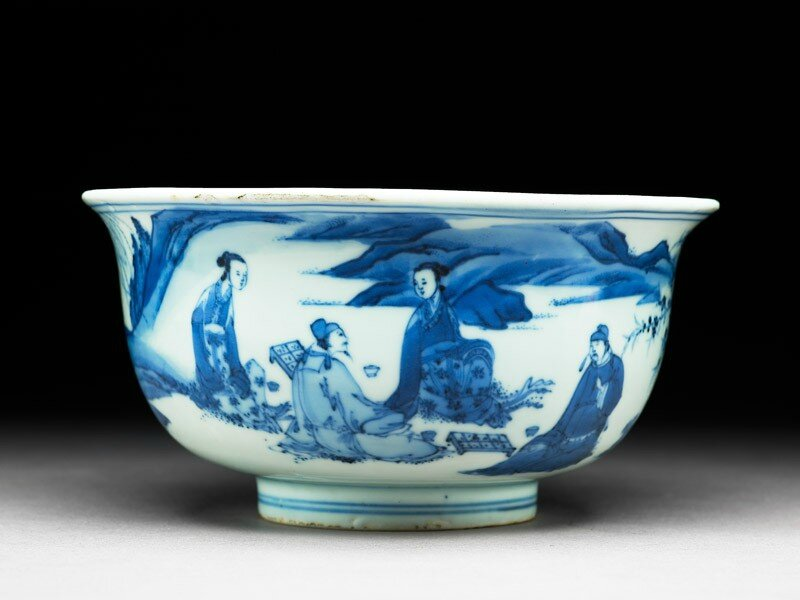 Blue-and-white bowl with figures playing chess, Ming dynasty, Tianqi Period, 1600-1625