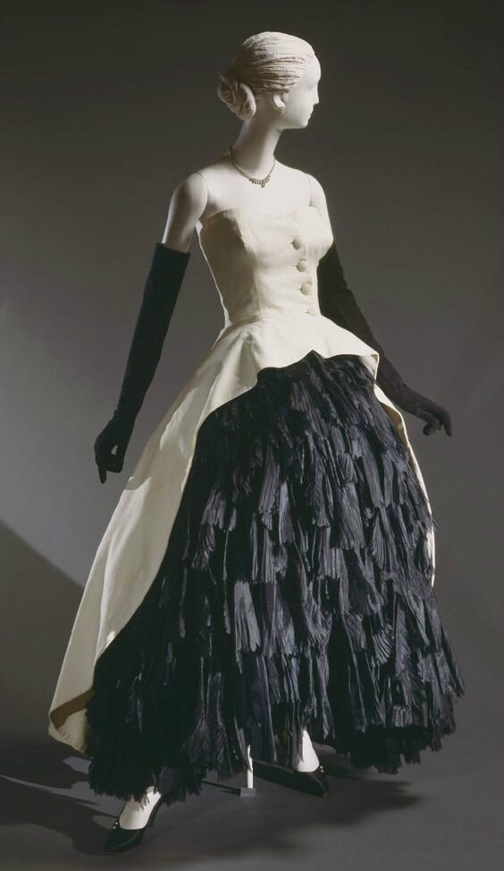 Woman's Evening Ensemble Dress, Overdress, Bustle, and Petticoat, by Cristóbal Balenciaga, Spring 1951