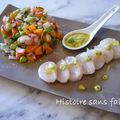 Tartare de légumes croquants et carpaccio de st-jacques au pesto de légumes