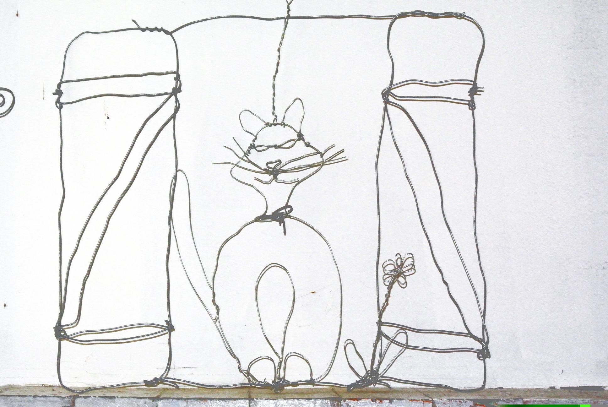 Un chat à la fenêtre - fil de fer